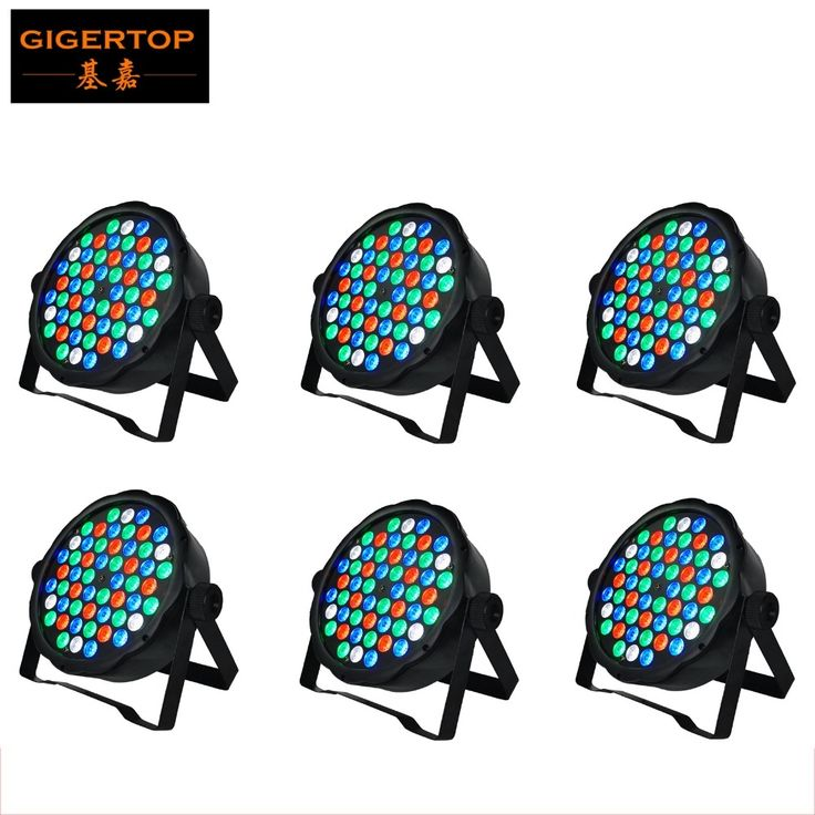 320.00$  Buy here - http://aligme.worldwells.pw/go.php?t=32317578052 - Cheap Price 6XLot Hot Selling Led Par Stage DJ Lights 54pcs 1W RGBW Home Party Disco Strobe DMX512 Flat professional Lighting 320.00$