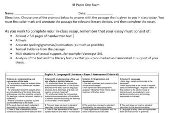 If you teach in the International Baccalaureate Program, part of the English exam is a Paper One Assessment. After your students read Cat's Cradle by Kurt Vonnegut, have them complete this mock-Paper One exam. The students have three prompts to choose from and a passage from the text to utilize for evidence. The rubric for the IB Paper One is included on this resource to make it easy to grade!   This assessment should take an entire class period.