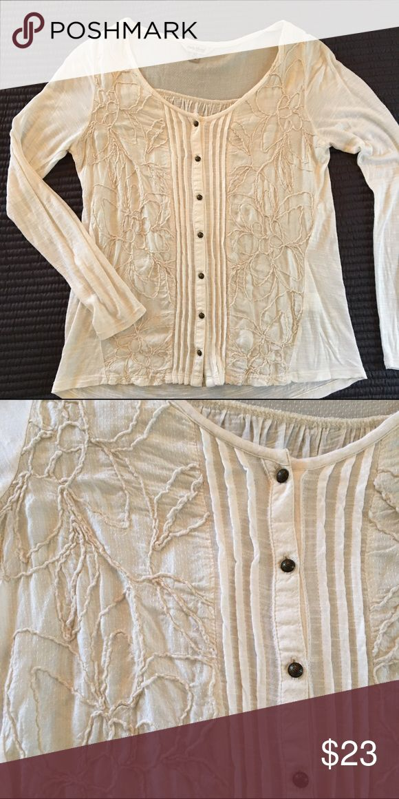 Lucky Brand Embroidered Long Sleeve Top Cream long sleeve tee with embroidery detail. New condition. Lucky Brand Tops Tees - Long Sleeve