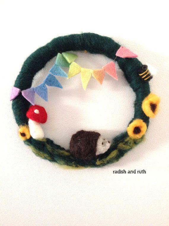 Hedgehog Wreath/Wall hanging bunting toadstool by radishandruth