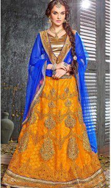 Yellow Color Jacquard Silk A Line Style Lehenga Choli | FH586586334