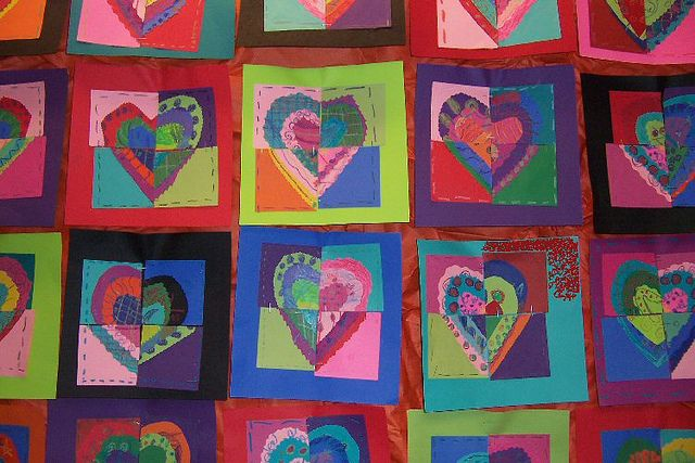"""Fractured Hearts Students """"swap"""" pieces of their Hearts with three other students. Perfect art project for Valentine's Day!"""