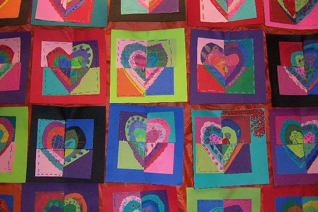 Ystävänpäivätyö: Jokainen taiteilee yhden sydämen, jakaa sen neljään osaan ja vaihtaa osia kolmen muun kanssa!