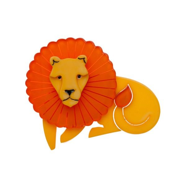 """Limited Edition Len Lion brooch in orange. """"None sounded quite so loud and raw... as the hungry call of the king Lions roar."""""""
