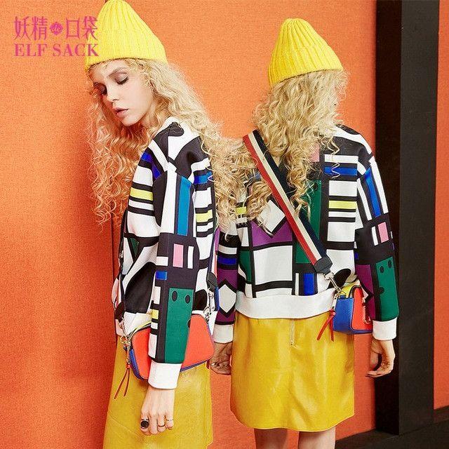 Elf SACK w autumn geometry print o-neck long-sleeve pullover air layer sweatshirt female