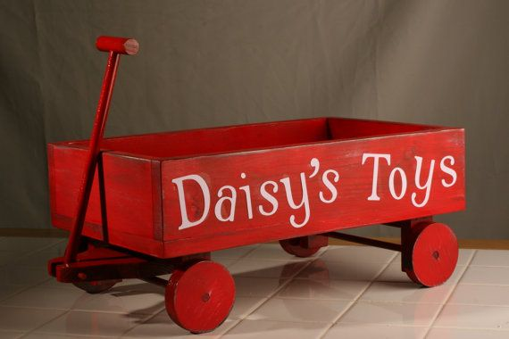 Personalized dog toy wagon pet toy wood toy box lil' red wagon gift