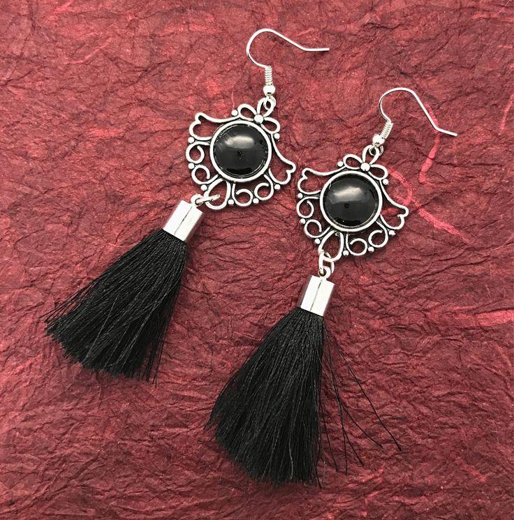 Tassel Black earrings Antique Silver drop earrings gift for her by VividSister on Etsy https://www.etsy.com/au/listing/534020798/tassel-black-earrings-antique-silver