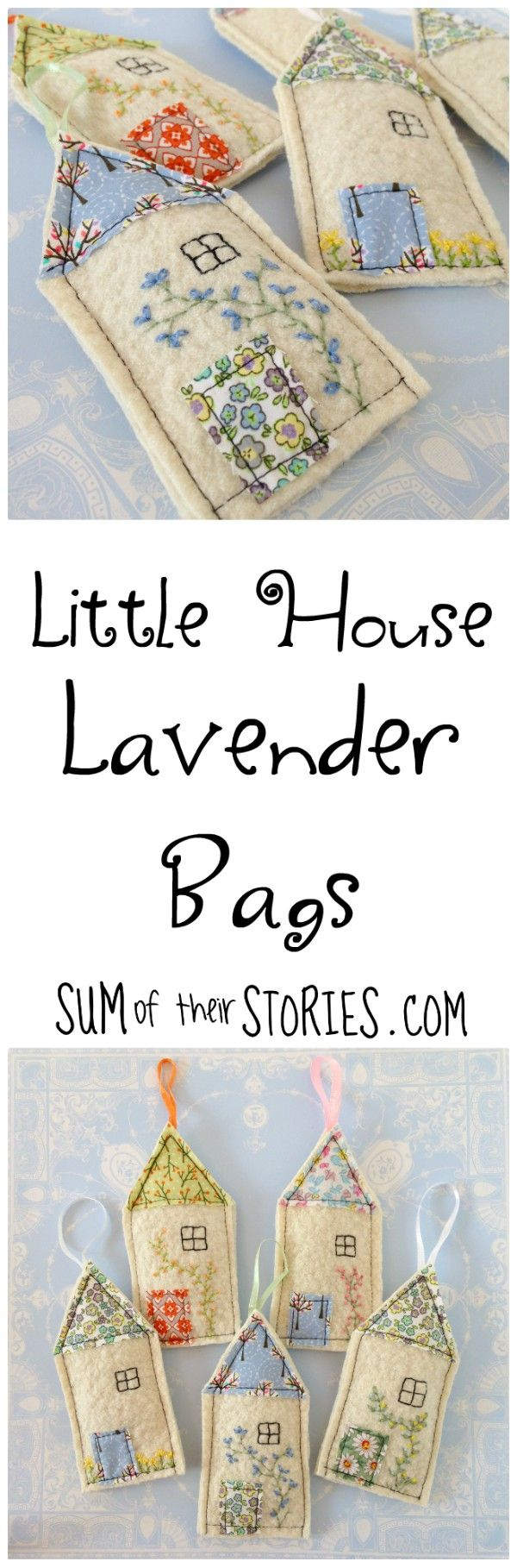Little house embroidered lavender bags