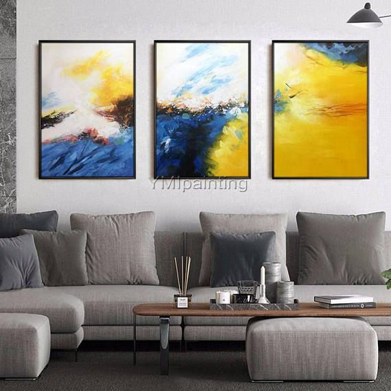 3 Piece Wall Art Framed Painting Mustard Navy Blue Abstract Etsy Abstract Painting Acrylic 3 Piece Wall Art Contemporary Art Canvas