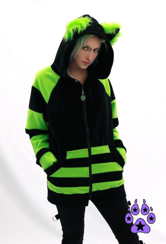 Koop 15 uit Pawstar STRIPEY Mew Kitty Kat HOODIE jas anime cosplay harige goth cyber rave halloween kostuum heren kleding Lime groen 6132