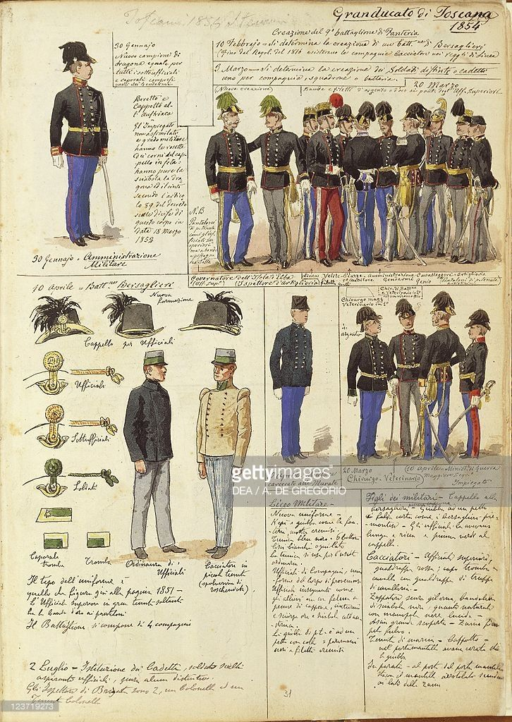 Foto stock : Uniforms of Grand Duchy of Tuscany by Quinto Cenni, color plate, 1854