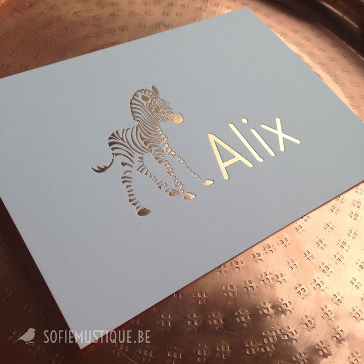 Geboortekaartje Alix (rose gold foil | rosé goudfolie zebra) - sofiemustique.be | birth announcement letterpress | hot foil