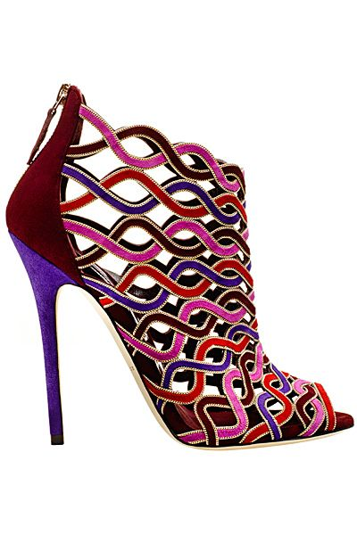 Brian Atwood Multicolor Cage Ankle Boot Sandal Fall-Winter 2014 #Shoes #Heels #Booties