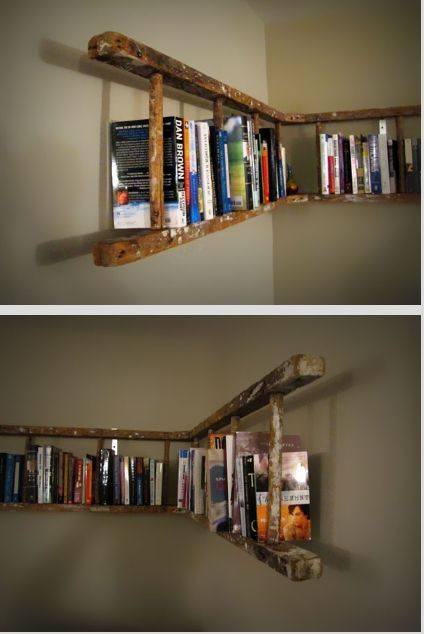 old ladder bookshelves