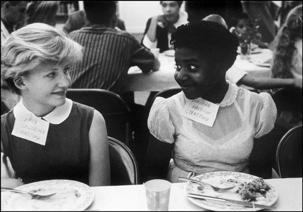 U.S. During the civil rights movement in America: black and white children at a party in Virginia to introduce integrated schools, 1958.