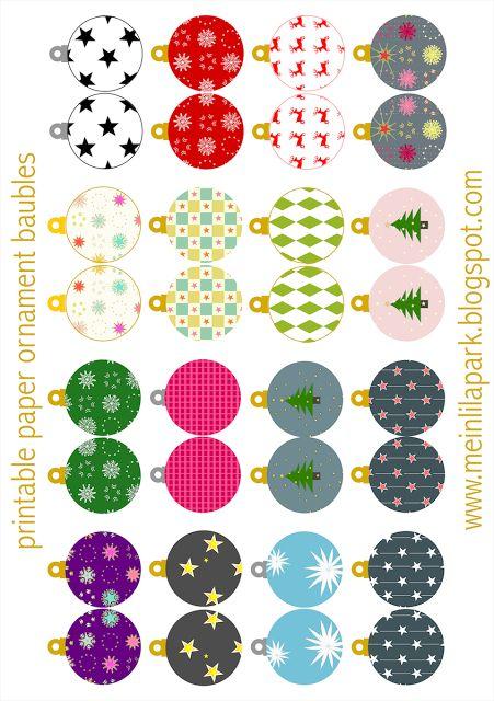Free printable Christmas ornaments: baubles - ausdruckbarer Weihnachtsschmuck - freebie |