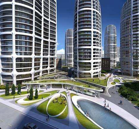 """""""Bratislava Culenova"""": Recent plans reveal the capital of Slovakia will be welcoming a new 7-tower city centre designed by the prolific architectural firm of Zaha Hadid. Elliptical high-rises are extruded up out of a 1-story plinth of shopping at street level, with parking below. Winding paths rise to the first story roofs and fall to street level throughout the site, creating a sense of  intrigue as visitors discover new features not directly in their line of sight. 