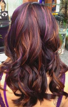 Dark Brown, Red, Pink, and Violet Highlights #Love This.......... I love the colors in her hair!!