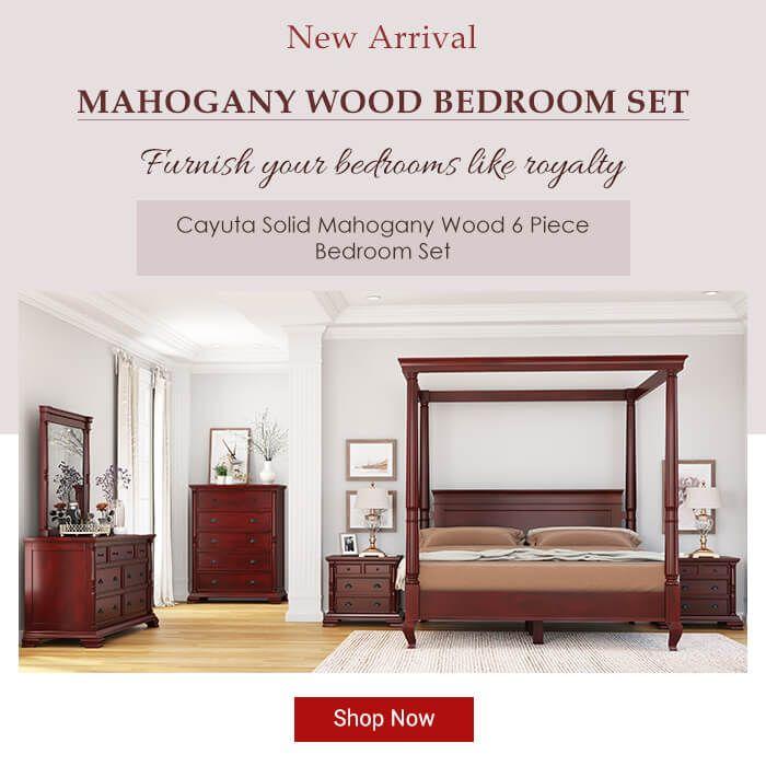 Cayuta Solid Mahogany Wood 6 Piece Bedroom Set Bedroom Set Wood Bedroom Sets Mahogany Wood