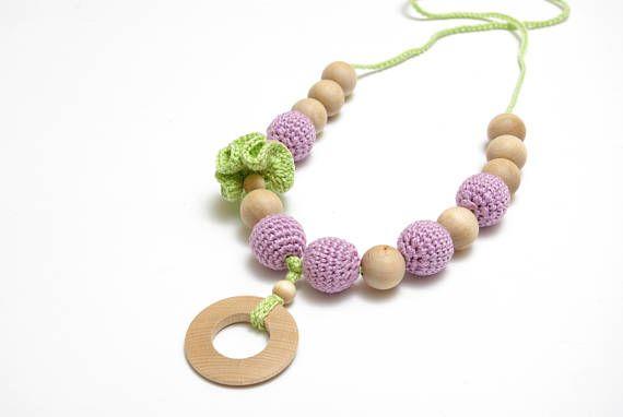 Pastel crochet necklace teething necklace mommy and me #sensorytoy , #crochetbabytoy , #ecobabytoy , #newborntoy , #pastelbabytoys, #necklaceteething