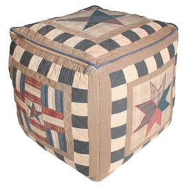 Crafted from home-spun cotton fabric, this square pouffe adds a charming touch to your home. Showcasing a flag print design, it is perfect displayed alongside weathered wood furniture, neutral decor and distressed accents for rustic style.  Product: PouffeConstruction Material: Cotton fabricColour: Black, brown and whiteFeatures: PatchworkDimensions: 46 cm H x 46 cm W x 46 cm D