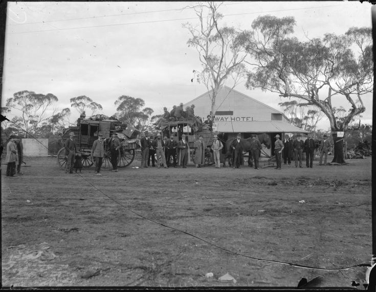 012490PD: Stage coaches in front of the Half-Way Hotel, on the Hannans Road between Coolgardie and Hannans (Kalgoorlie), Western Australia, 1895-1896.  http://encore.slwa.wa.gov.au/iii/encore/record/C__Rb1763307__SStage%20coaches%20in%20front%20of%20the%20Half-Way%20Hotel__Orightresult__U__X6?lang=eng&suite=def