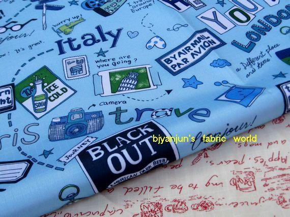 WF051  1/2 yard Vinyl waterdichte stof  reizen in door bjyanjun