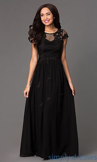 Long Illusion Sweetheart Dress with Cap Sleeves at SimplyDresses.com