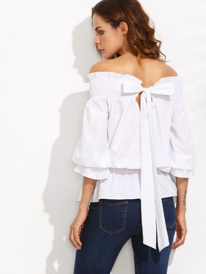 White Off The Shoulder Bow Tie Back Blouse