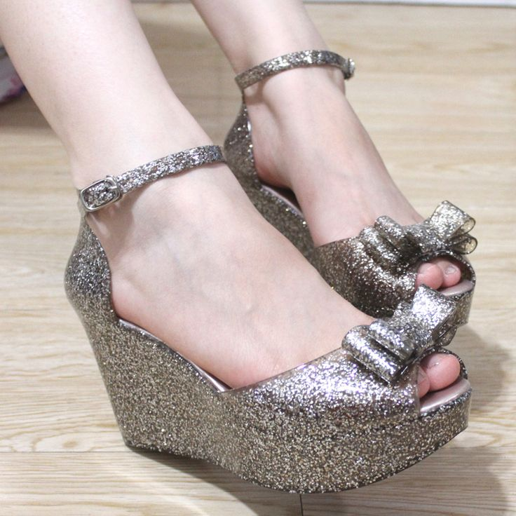 Bling 2013 melissa jelly shoes glitter bow open toe sandals plastic women's wedges shoes Free Shipping-inSandals from Shoes on Aliexpress.co...