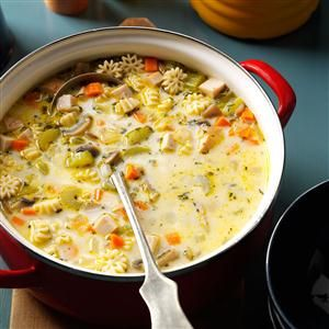 Creamy Vegetable Turkey Soup Recipe -For a creamy turkey soup with a sense of fun, we go wheels up at our house. We load it up with wagon-shaped pasta and veggies. —Nancy Beyer, Hayden Lake, ID
