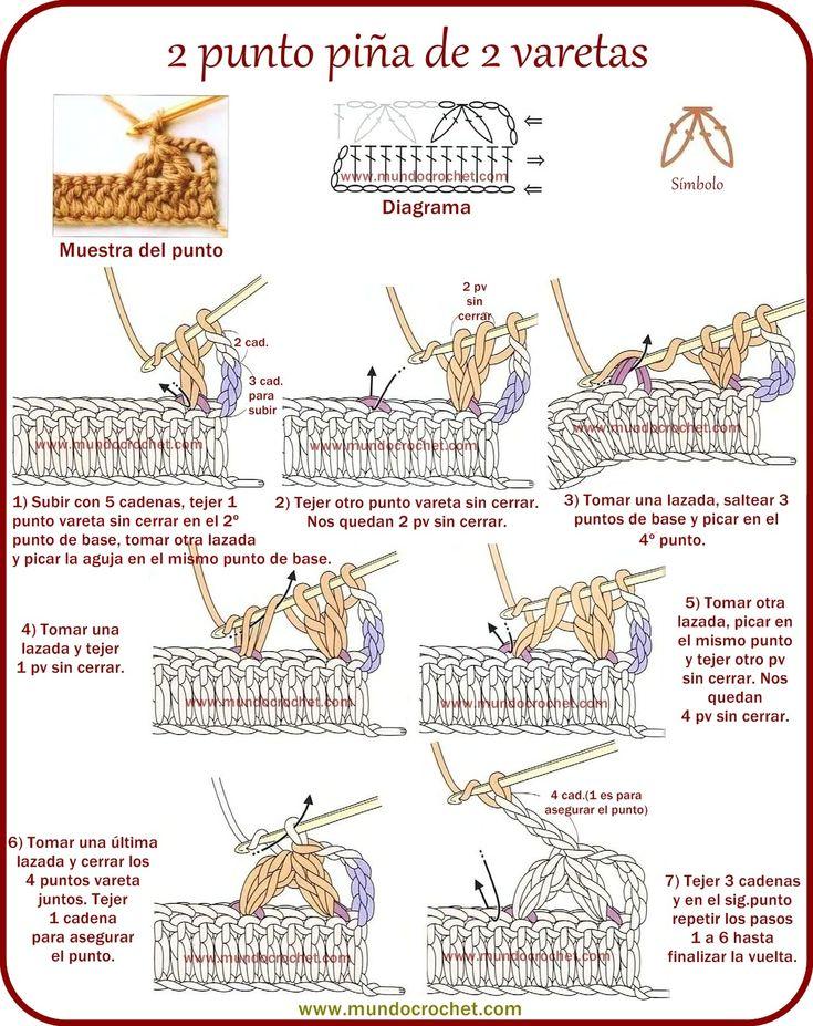 Como hacer 2 punto piña de 2 varetas Paso a Paso