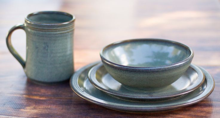 2 Place Stoneware Dinnerware Set-- Pottery Dinnerware Set Ceramic Stoneware Dishes - Stoneware Dinner Set by crutchfieldpottery on Etsy https://www.etsy.com/listing/114262298/2-place-stoneware-dinnerware-set-pottery