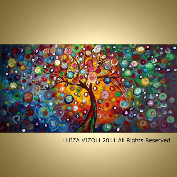 I ABSOLUTELY LOOOVE THIS PAINTING! Wish I had $339 to spend. :p - MUSIC for my SOUL 48X24 Original Modern Abstract Fantasy Tree Landscape Large Fine Art by Luiza Vizoli