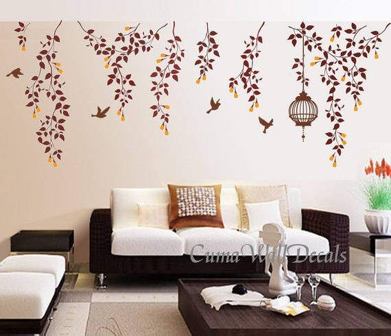 Tree Wall Decals Nature Bird Wall Decal Vinyl Nursery Birdcage Wall Sticker  Flower Wall Mural Art Part 78