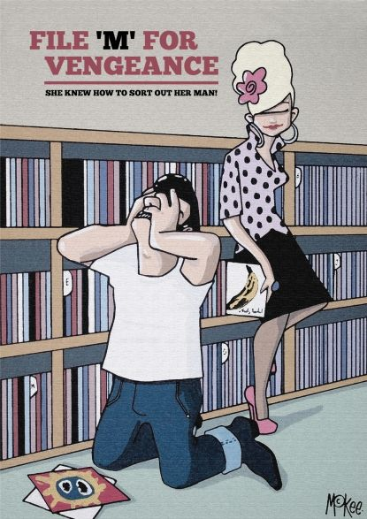 Pete Mckee record comic from his The Girls Cant help It Exhibition - misfiled records