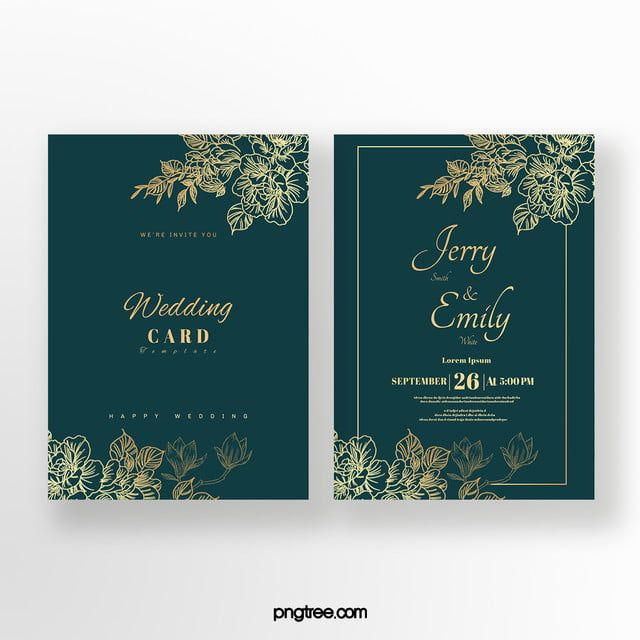 Golden Pattern Emerald Double Sided Wedding Invitation Wedding Invitations Green Wedding Invitations Emerald Wedding Invitations