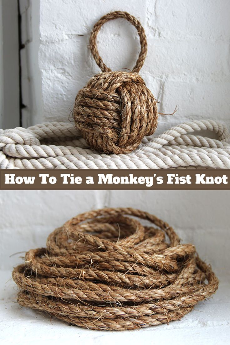 Decorate Your Home with This Gorgeous Monkey's Fist Knot. Find out how to tie your own watching our video: http://blog.diynetwork.com/maderemade/2014/07/25/how-to-tie-a-monkeys-fist-knot/?soc=pinterest
