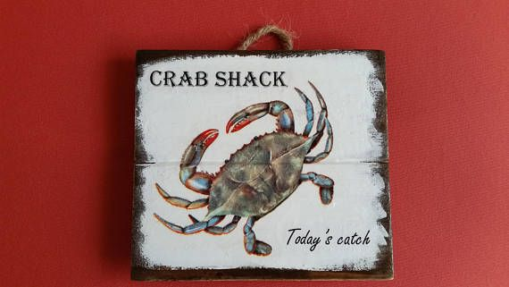 Crab shack sign Blue crab decor Today's catch sign