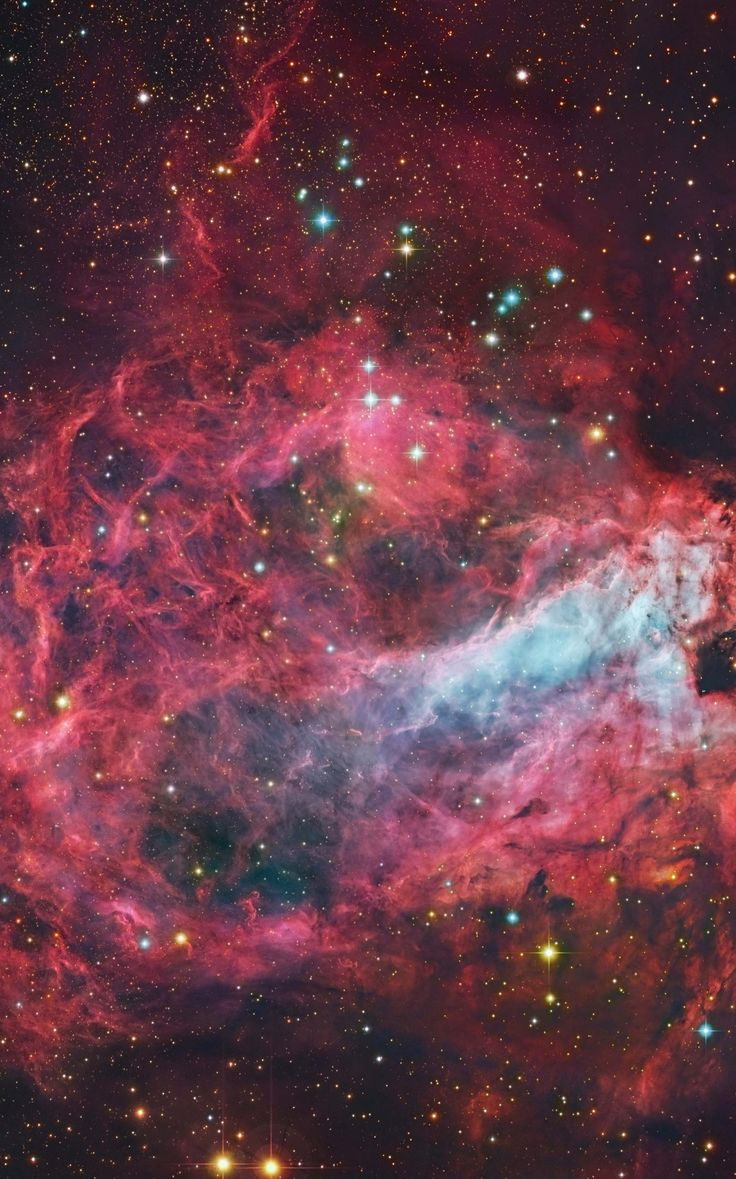 What's happening at the center of this nebula? Sculpted by stellar winds and radiation, the star factory known as Messier 17 lies some 5,500 light-years away in the nebula-rich constellation Sagittarius. At that distance, this degree wide field of view spans almost 100 light-years. The sharp, composite, color image utilizing data from space and ground based telescopes, follows faint details of the region's gas and dust clouds against a backdrop of central Milky Way stars.