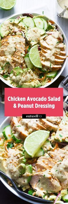 This avocado chicken salad is crunchy, healthy and filling all at the same time! It's full of fresh veggies, uses an avocado-peanut vinaigrette instead the classic mayonnaise, and gets its cr…