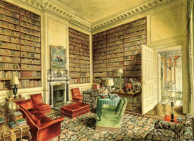 The library at Ditchley Park.  Watercolor by Alexandre Serebriakoff.