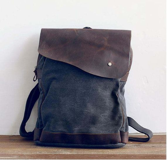 gray canvas backpack backpack  leather travelbags  by Leizistudio, $49.90