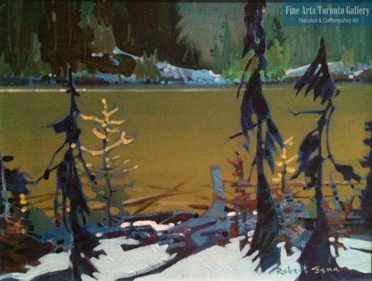 "First Snow on Yoho Lake (2008) by Robert Genn, acrylic on canvas 11""x14"" at Fine Arts Toronto Gallery"