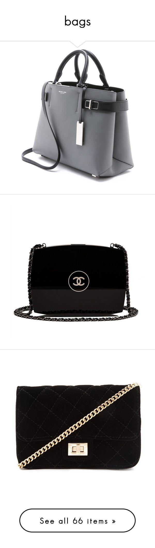 """bags"" by iniziojorina on Polyvore featuring bags, handbags, michael kors purses, michael kors, satchel handbags, michael kors handbags, leather purse, clutches, purses and black purse"
