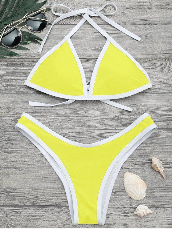 AD : High Cut Contrast Piping Bikini Set - LEMON YELLOW     Updated your swimwear collection with our contrasting piped self tie back halter padded bikini top and high leg swim bottoms.  Swimwear Type: Bikini   Gender: For Women   Material: Nylon,Polyester,Spandex   Bra Style: Padded   Support Type: Wire Free   Collar-line: Halter   Pattern Type: Others   Waist: Low Waisted   Elasticity: Elastic   Weight: 0.2000kg   Package: 1 x Top 1 x Bottoms