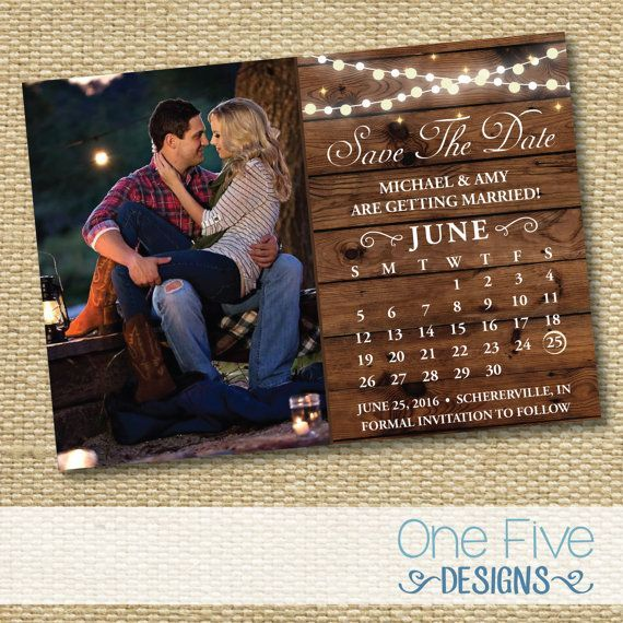 String Lights Rustic Wedding Save The Date - Printable (5X7)