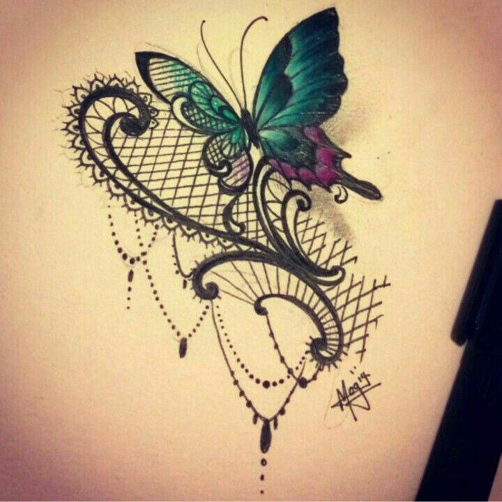 Beautiful lace and butterfly tattoo