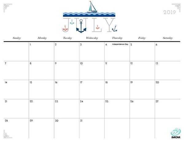 2019 Blank Calendar July Printable Monthly Calendar Template