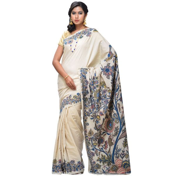 Beige Kalamkari Cotton Silk with Hand Painted Pallu and Border Design kl0021